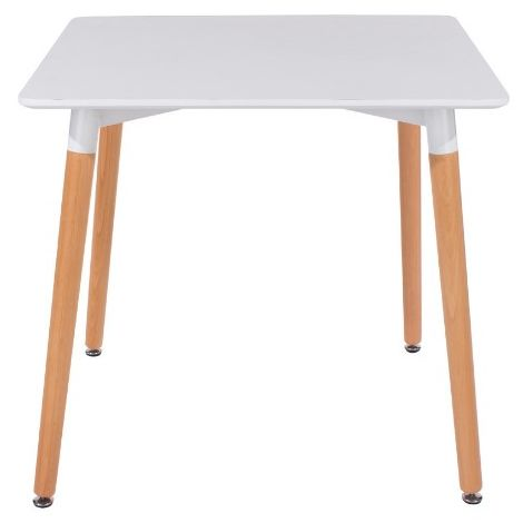 Square White Painted Table Top With Beech Legs