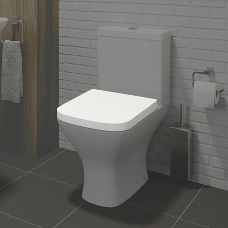 Square White Toilet Seat Soft Close Quick Release Easy Clean - SEAT ONLY