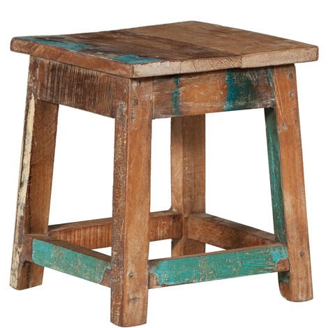 SQUARE WOODEN RECYCLED TEAK BENCH