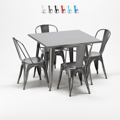 Square table and 4 metal chairs set Tolix industrial style for Bars and Pubs FLUSHING   Grey