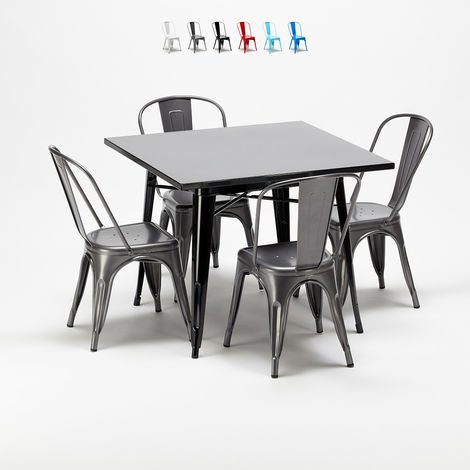 Square table and 4 metal chairs set Tolix industrial style for Bars and Pubs SOHO | Grey