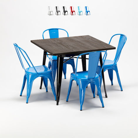 Square wooden table set and metal chairs Tolix industrial style WEST VILLAGE