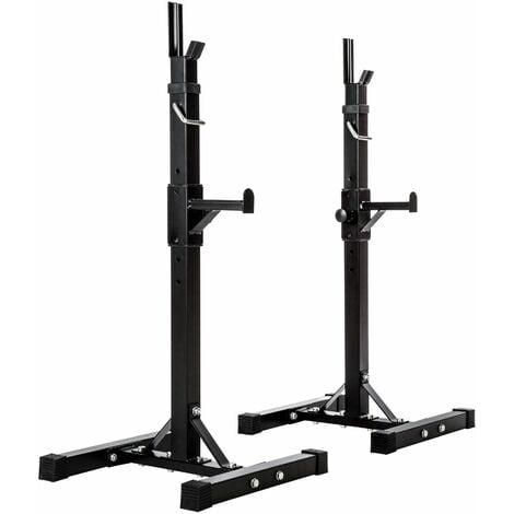 Squat rack for barbell - power rack, weight rack, trainer rack - black