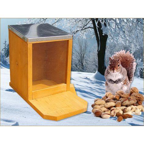 squirrel feeding house automatic feeder feeding station wood plexiglass zinc roof