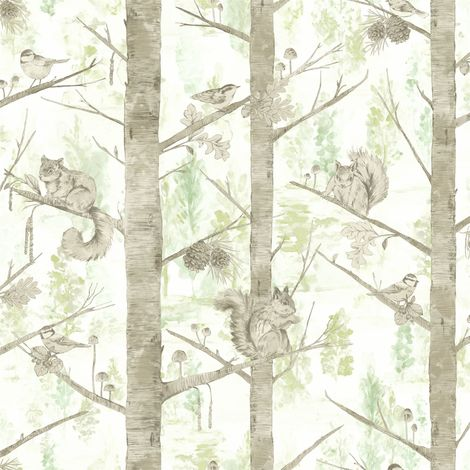 Squirrels Trees Forest Wallpaper Birds Woodland Green Silver Metallic Holden