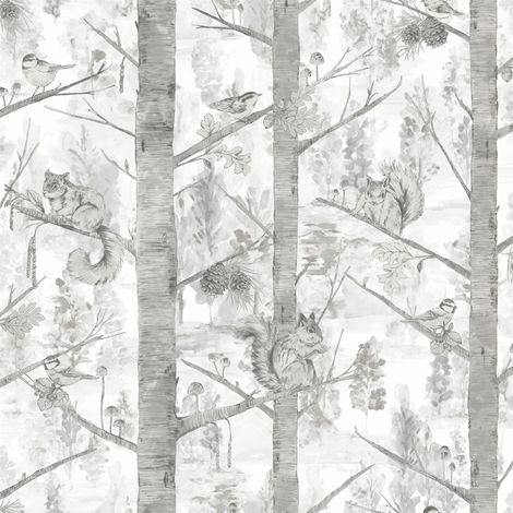 Squirrels Trees Forest Wallpaper Birds Woodland Light Grey Silver Metallic