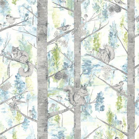 Squirrels Trees Forest Wallpaper Birds Woodland Teal Silver Metallic Holden