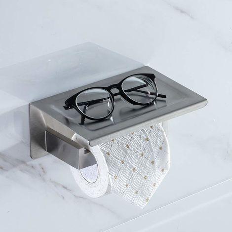 SS304 Edelstahl Toilettenpapierhalter mit Ablage Klopapierhalter Rollenhalter Handyhalter WC-Papierhalter