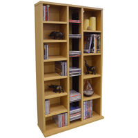 ST LAURENCE - 355 CD / 130 DVD Blu-ray Media Storage Shelves - Beech
