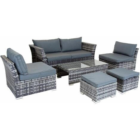 St Tropez Rattan Lounge Set - Grey