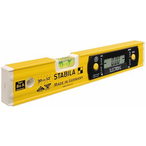 Stabila Niveau à bulle électronique TECH 80 A electronic, 30 cm, avec affichage numérique - 17323