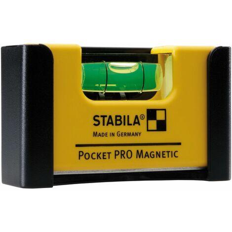 Stabila Niveau à bulle Pocket PRO Magnetic, 7 cm, avec système d'aimants aux terres rares et clip de ceinture - 17953