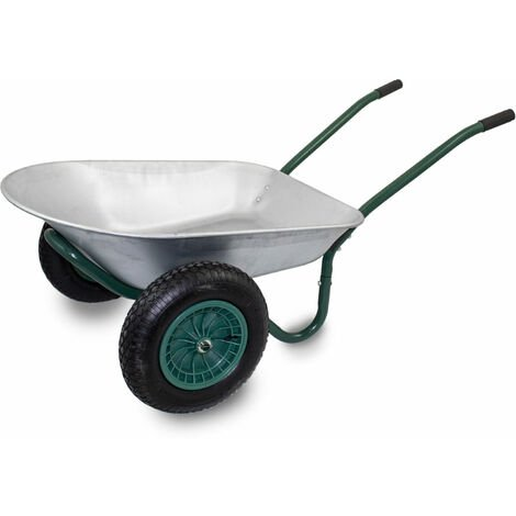 Stabile 2-Rad Bau Schubkarre Baukarre Zweiradkarre Gartenkarre Schubkarren Muldenkarre Verzinkt 100L / Traglast bis 150kg / Luftbereifung