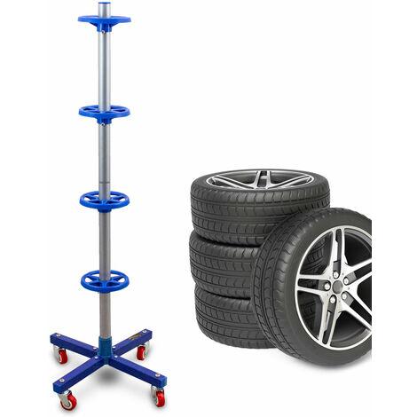 Stabiler fahrbarer Felgenbaum Reifenwagen Felgenständer Reifenständer Radwagen bis 225mm Blau