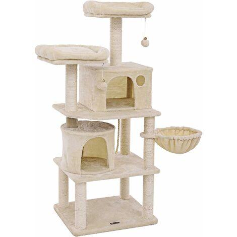 Stabiler Kratzbaum 152cm mit Sisal-Kratzstangen, Plüsch-Sitzmulden, Einem Korb und 2 Häuschen, Kletterbaum für Katzen, Rauchgrau/Beige/Hellgrau