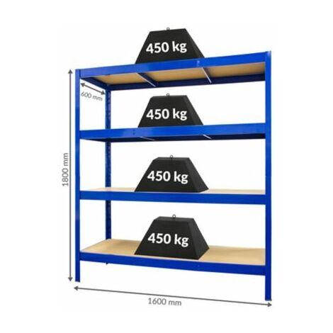 Stabiles Garagenregal - Tiefe 60 cm | 450 kg pro Fachboden Last hochbelastbar
