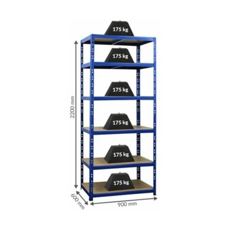 Stabiles Kellerregal - Tragkraft bis zu 175 Kg pro Fachboden - HxBxT 2200 mm x
