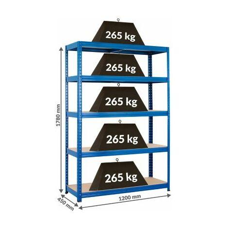 Stabiles Kellerregal - Tragkraft bis zu 265 Kg pro Fachboden - HxBxT 1780 mm x