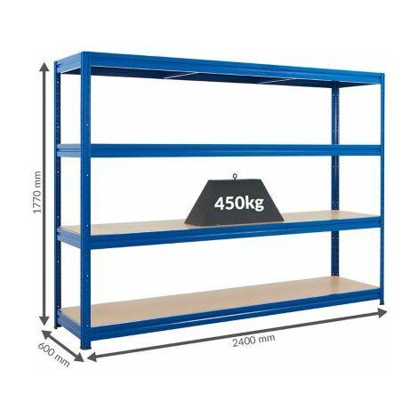 Stabiles Kellerregal | Tragkraft bis zu 450 Kg pro Fachboden | 1770 x 2400 x 600