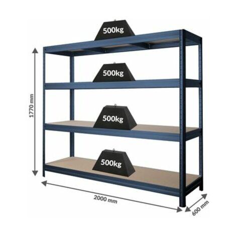 Stabiles Kellerregal | Tragkraft bis zu 500 Kg pro Fachboden | 1770 x 2000 x 600