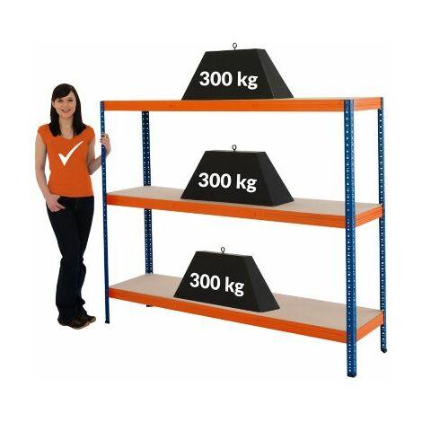 Stabiles Metallregal | Tragkraft bis zu 300 Kg pro Fachboden | HxBxT 1500 mm x