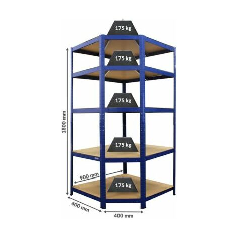 Stabiles Schwerlastregal | Eckelement | HxBxT 1800 x 900 x 600 mm | Blau | newpo