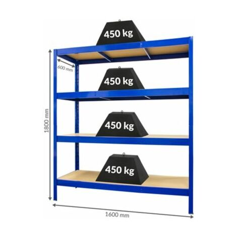 Stabiles Schwerlastregal - Tiefe 60 cm | 450 kg pro Fachboden Keller-regal