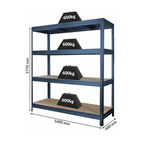Stabiles Schwerlastregal | Tragkraft bis zu 600 Kg pro Fachboden | 1770 x 1600 x