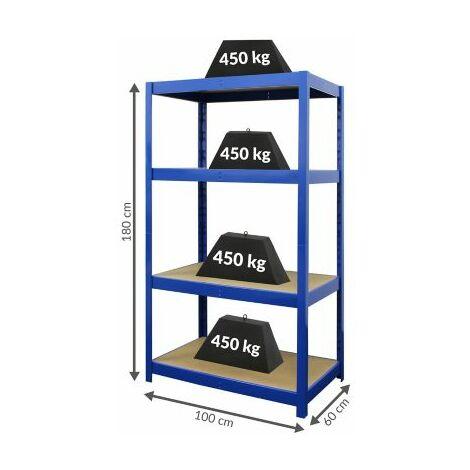 Stabiles Werkstattregal | HxBxT 180 x 100 x 60 cm | Tiefe 60 cm | 450 kg pro