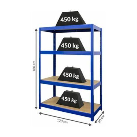 Stabiles Werkstattregal | HxBxT 180 x 120 x 60 cm | Tiefe 60 cm | 450 kg pro