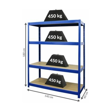Stabiles Werkstattregal | HxBxT 180 x 140 x 60 cm | Tiefe 60 cm | 450 kg pro