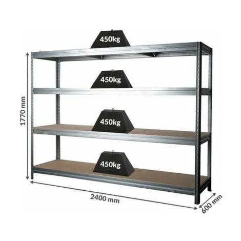 Stabiles Werkstattregal | Tragkraft bis zu 450 Kg pro Fachboden | 1770 x 2400 x