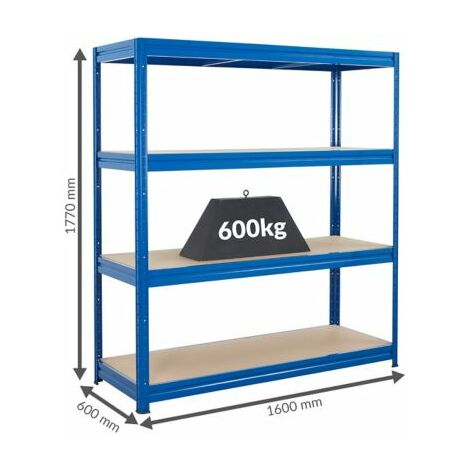 Stabiles Werkstattregal | Tragkraft bis zu 600 Kg pro Fachboden | 1770 x 1600 x