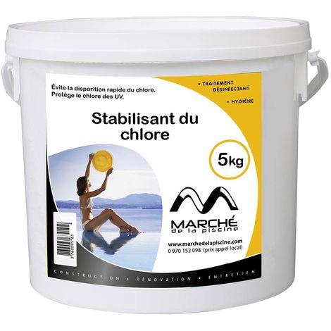 Stabilisant du chlore piscine Marchedelapiscine poudre en seau 5kg