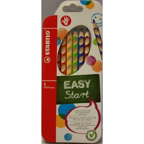 STABILO Easy Start Ergonomischer Dreikant Buntstift mit rutschfesten Griffzonen, 6 Stück