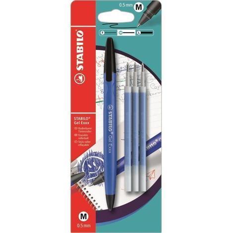 STABILO Stylo roller effaçable Gel EXXX et 3 recharges - Bleu