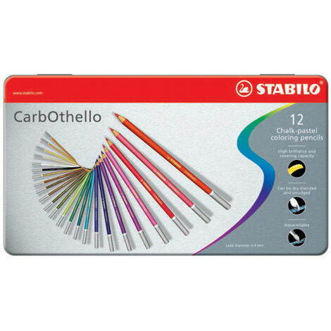 STABILO Tinned Art Products Carbothello Chalk Pastel Coloured Pencils 12 shades