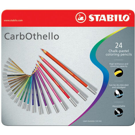 STABILO Tinned Art Products Carbothello Chalk Pastel Coloured Pencils 24 shades
