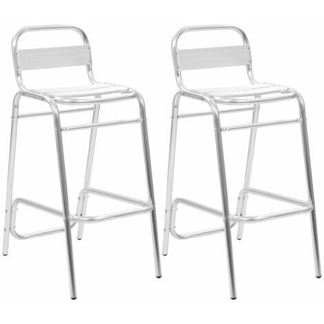 Stackable Bar Chairs 2 pcs Aluminium
