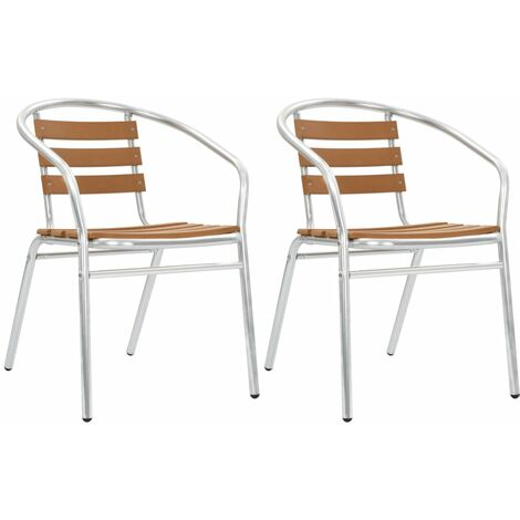 Stackable Garden Chairs 2 pcs Aluminium and WPC Silver