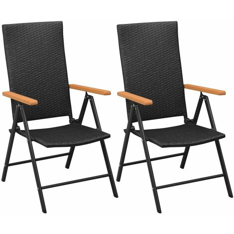 Stackable Garden Chairs 2 pcs Poly Rattan Black