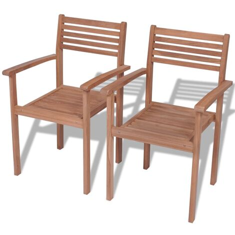 Stackable Garden Chairs 2 pcs Solid Teak Wood - Brown