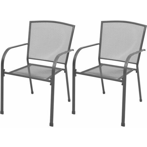 Stackable Garden Chairs 2 pcs Steel Grey