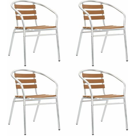 Stackable Garden Chairs 4 pcs Aluminium and WPC Silver