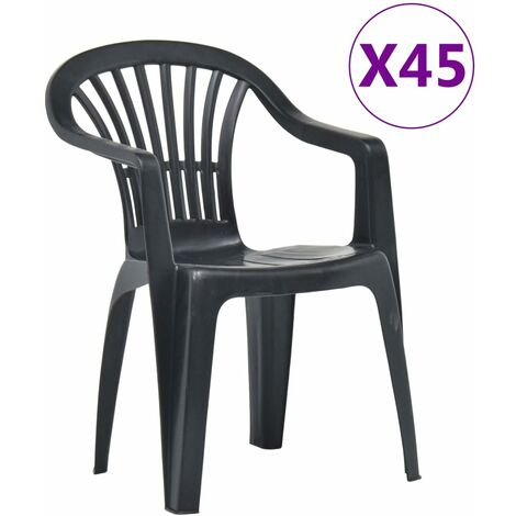 Stackable Garden Chairs 45 pcs Plastic Anthracite
