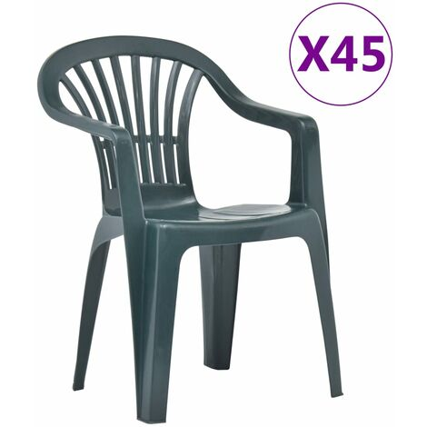 Stackable Garden Chairs 45 pcs Plastic Green