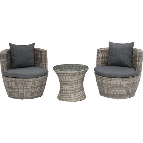 Stackable Grey Rattan Patio Bistro Set with Coffee Table for 2 Capri