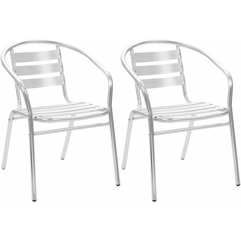 Stackable Outdoor Chairs 2 pcs Aluminium