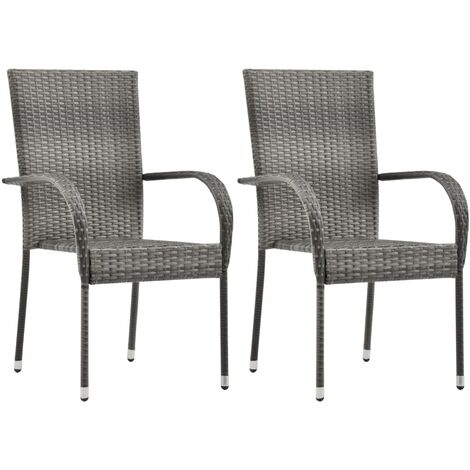 Stackable Outdoor Chairs 2 pcs Grey Poly Rattan