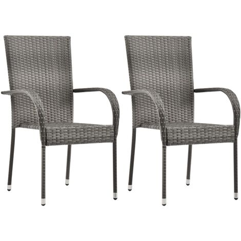 Stackable Outdoor Chairs 2 pcs Grey Poly Rattan - Grey